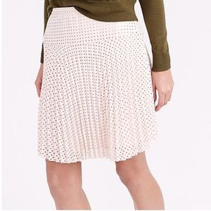 J Crew Ivory Pleated Laser Cut Perforated Skirt 12